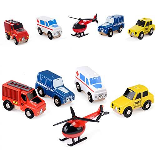 Wooden Toy City Cars And Emergency Vehicles Play Set