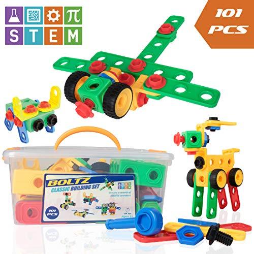 stem toys building blocks construction set usa toyz boltz 101 pc educational toys for. Black Bedroom Furniture Sets. Home Design Ideas